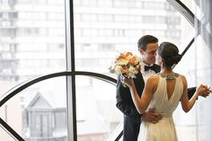 Stunning bride and groom at Thompson Chicago wedding.
