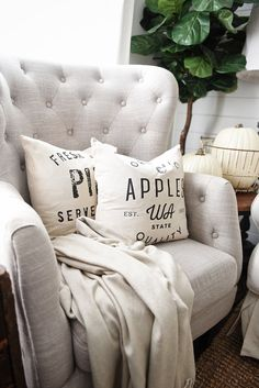 Cozy Neutral Living room - handmade neutral pillows from So Vintage Chic on Etsy