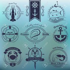 Vector ensemble de logos fruits de mer. Squid, le thon, huîtres, crabe, homard, des crevettes et des éléments de conception. EPS 10