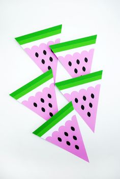 free printable Watermelon bunting by minieco  (would make great fine motor practice to cut these out and could double as decor!)