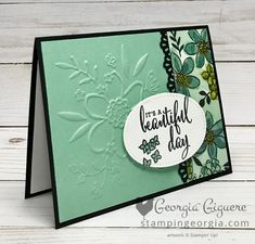 Love What You Do thank you card features multiple products from the Gotta Have It All Bundle from the Share What You Love Suite promotion . . . available only in May! Details on my blog: www.stampingeorgia.com SHOP: www.georgia.stampinup.net