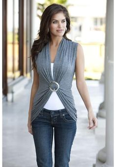 Ring front top. Gathered at the center with circular hardware. Domestic rayon/spandex. Sizes S, M, L. Dark grey (DG). 4529 $14.90. Layering tank not included.