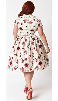 21ca0a0cb5 Hell Bunny Plus Size 1950s Style Cream   Red Florals Rosemary Swing Dress  Plus Size Vintage