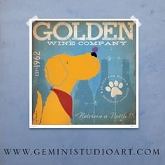 Golden Retriever Wine Company original graphic illustration giclee archival signed artist's print 12 x 12