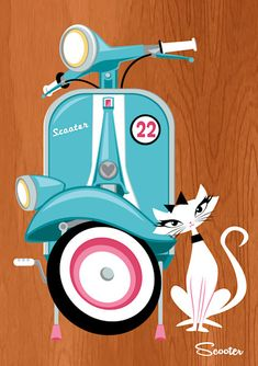 Love Scooter Retro Modern white cat with black bow on head, pink and turquoise scooter, wood grain background.