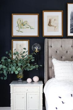 Home Decor Luxury A combination of black paint, moody artwork, brass accents and an art deco flair give this master bedroom reveal both a masculine and feminine vibe. Living Room Bedroom, Home Bedroom, Bedroom Decor, Bedroom Artwork, Navy Blue Walls, Blue Wall Decor, Art Deco, Bohemian Style Bedrooms, My New Room