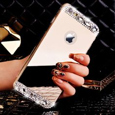 For Coque iPhone 6 6S 5S 6 Plus 7 Plus Strass Bling Glitter Diamond Mirror Case Soft TPU Frame For iPhone 7 Case Accessories | iPhone Covers Online