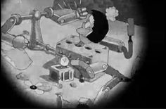 """182 of 183. The Monster, broken to pieces, becomes accidentally reassembled as a self-punching device. We are in the middle of an """"iris out."""" 