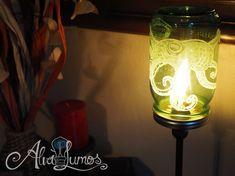 Green Mason Jar Lamp: Custom painted Octopus Mason by AlvaLumos