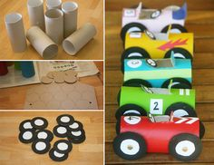 How to Make Toilet Paper Roll Race Cars - DIY  Crafts - Handimania --for the #kidsactivities , of course yeah the kids only .lol... ;D