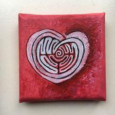 labyrinth on canvas 10x10Art Heart Shapes, Labyrinths, Canvas, Etsy, Tela, Canvases