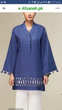 Women S Fashion Boutique Cheap Key: 4871789803 Kurti Sleeves Design, Sleeves Designs For Dresses, Kurta Neck Design, Dress Neck Designs, Sleeve Designs, Blouse Designs, Pakistani Fashion Casual, Pakistani Dresses Casual, Pakistani Dress Design