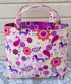 Tote Bag Purple Dog Dachshunds Colorful by anniesgirlshandmade