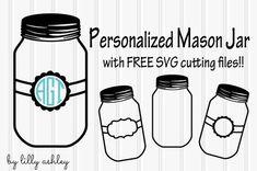 freebie mason jar svg cutting files silhouette