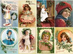 "Stickers (8pics 2.5""x3.5""each) FLONZ Craft 441-0224 Vintage Christmas Girls Gift 