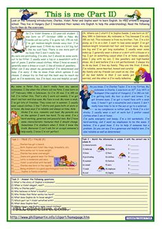 This is me Part 2 *** Reading comprehension for adults *** lower intermediate level *** with key *** fully editable