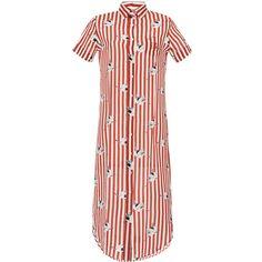 Stella Jean     Spassosa Tube Short Sleeve Dress (10,295 MXN) ❤ liked on Polyvore featuring dresses, stripe, short sleeve shirt dress, short sleeve dress, sleeved dresses, red short sleeve dress and long sleeve shirt dress