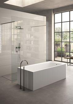 quintessential modern tub + shower idea l Italics Tile & Stone Showrooms Spa Like Bathroom, Modern Bathroom, Master Bathroom, White Bathroom, Bathroom Trends, Bathroom Renovations, Modern Baths, Bathroom Design Luxury, Shower Tub
