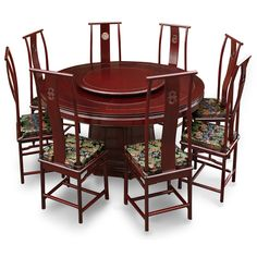 66in Rosewood Ming Design Round Dining Table With 8 Chairs