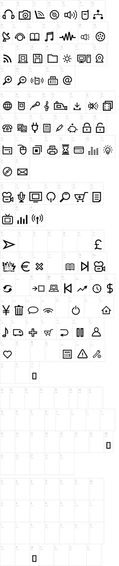 Multimedia Icons by Woodcutter on dafont.com Link: http://www.dafont.com/multimedia-icons.font