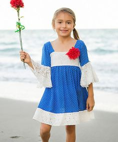 Look at this #zulilyfind! Royal & White Lace Peasant Dress - Toddler & Girls by Mia Belle Baby #zulilyfinds