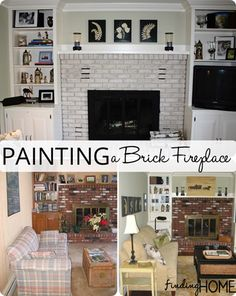Transforming a space: Painting a brick fireplace with Finding Home Farms Fireplace Remodel, Brick Fireplace, Fireplace Ideas, Do It Yourself Home, My Living Room, Space Painting, Thumb Painting, Painting Brick, Painting Tips