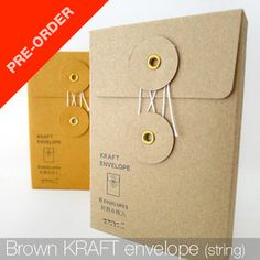 Small KRAFT Envelope with String (Brown)