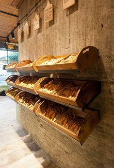 Constantinos Bikas interior designer – Kogia bakery on Behance Bakery Shop Design, Cafe Design, Restaurant Design, Store Design, Bakery Interior Design, Design Design, Patisserie Design, Design Ideas, Bread Display