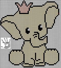 Requires 6 of the square plates clicking along together. Make all the black first and start with the right ear, start counting from the top far right and go 13 inches down fields, which begins in the outer ear. (Otherwise it can not be on 6 plates) Hama Beads Design, Perler Bead Designs, Hama Beads Patterns, Beading Patterns, Beaded Cross Stitch, Cross Stitch Embroidery, Cross Stitch Patterns, Hama Mini, Elephant Cross Stitch