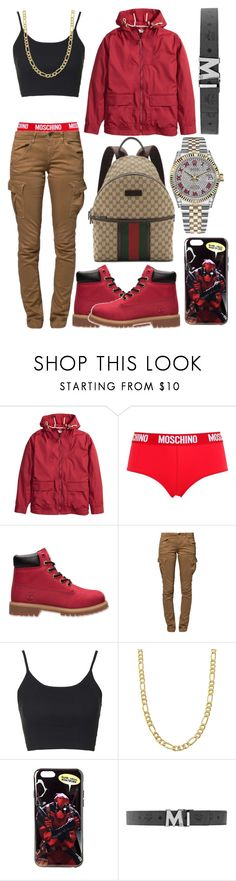 """Hell Gang"" by neilaninewsome ❤ liked on Polyvore featuring Moschino, Timberland, G-Star Raw, Topshop, Fremada, Gucci and Rolex"