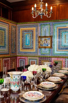 Discarded lottery tickets form an intricate wall design in the dining room, conceived by artist collaborative Ghost of a Dream.