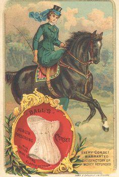 1885 ca. Lady Side-Saddle on Horse.