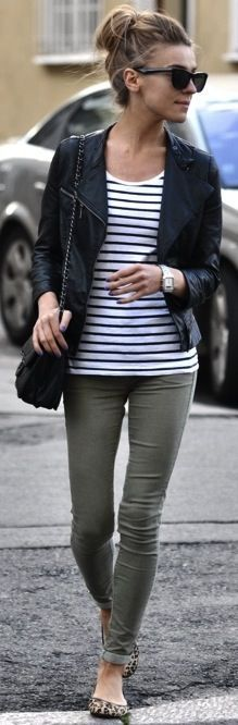 moto jacket + stripes + leopard flats