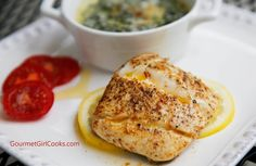 Gourmet Girl Cooks: Wild Alaskan Halibut Pan Seared in Brown Butter & Creamed Parmesan Spinach