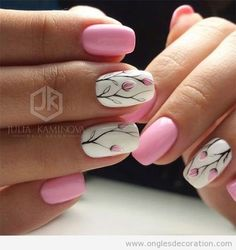 Nail art is a very popular trend these days and every woman you meet seems to have beautiful nails. It used to be that women would just go get a manicure or pedicure to get their nails trimmed and shaped with just a few coats of plain nail polish. Fancy Nails, Diy Nails, Cute Nails, Pretty Nails, Pedicure Nails, Mani Pedi, Tulip Nails, Flower Nails, Cute Spring Nails
