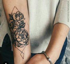 Peony and geometric tattoo idea