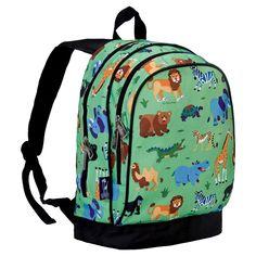 Wildkin Olive Kids Wild Animals Sidekick Kids Backpack - Green Animals, Brown
