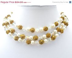 Sale Multi Strand Necklace Pearl Crystal by TheJewelryLadysStore