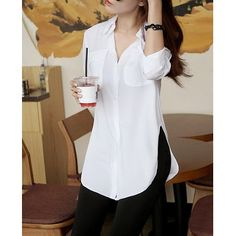 Solid Color Slit Side Design Long Sleeve Turn Down Collar Single Breasted Blouse For Women white Cute Blouses, Shirt Blouses, Blouses For Women, Long Blouse, Blouse Dress, French Chic Fashion, Fashion Pants, Fashion Outfits, Long Tops