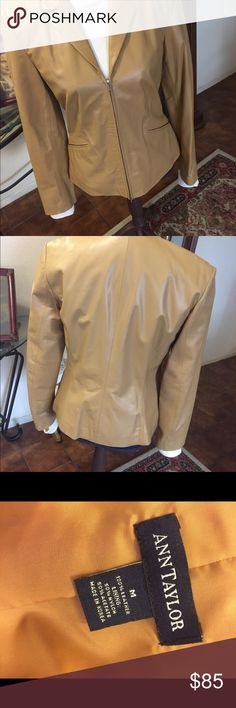 Beautiful 100% Leather Ann Taylor jacket This is a beautiful addition to your fall wardrobe.  It is 100% least her and in like new condition. Can zip from the bottom or top.  Can not beat the price. Ann Taylor Jackets & Coats Blazers