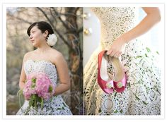 Green, crocheted and still perfect white!  It's the perfect wedding dress!