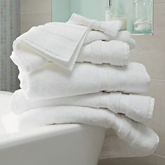 Buy Bathroom > Towels > Classic Double Border Towels - White from The White Company