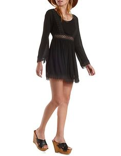 Crochet-Trim Long Sleeve Dress: Charlotte Russe #dress #crochet