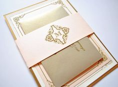 Blush and Gold Wedding Invitations Blush Gold by WhimsyBDesigns