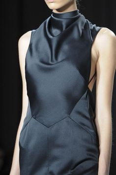Black silk dress with structured shape & draped neckline; chic fashion details // Jason Wu AW14