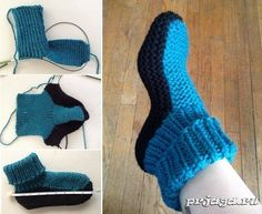 Home socks knitting video MKSuper Easy Slippers to Crochet or to Knit - Design Peak - SalvabraniHomemade Simple and Warm Slippers - Crochet KingdomThere's nothing better than coming in from the cold and popping your feet in some soft and warm slipp Ther Knitted Booties, Crochet Boots, Knit Crochet, Baby Booties, Crochet Baby, Baby Shoes, Knitting Socks, Knitting Stitches, Knitting Patterns