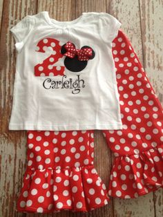 Minnie Mouse Inspired Ruffle Pants OR Capri Outfit - Baby Girl/ Toddler Girl - Sizes 12M thru 4T - Minnie Mouse Birthday, Disney Vacation by LalaBirdBoutique on Etsy https://www.etsy.com/listing/203973276/minnie-mouse-inspired-ruffle-pants-or