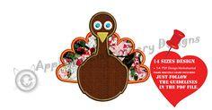 Thanksgiving Turkey Embroidery Applique Design-Bird