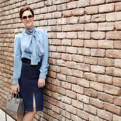 Denim + denim - wearing Sonia Rykiel shirt and See by Chloé skirt at @stylebop - look para o evento de hoje, apegada nessa camisa jeans de laço. Vic Ceridono   Dia de Beauté