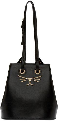 Charlotte Olympia Black Feline Bucket Bag